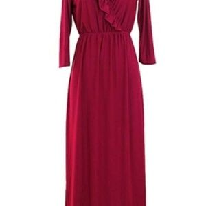 Jon & Anna NY Long Sleeve Ruffle Neck Maxi Dress